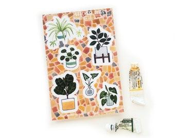 Terrazzo Houseplants Sticker Sheet 2 | 4 x 6 Sticker Sheet | Watercolor Houseplants | Plant Lady Stickers