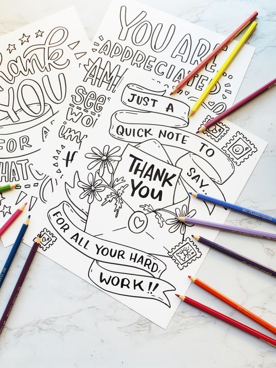 Thank You Essential Workers Coloring Pages Gratitude Etsy