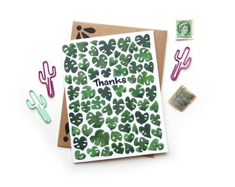 Monstera Thank You Card | Original Calligraphy Brush Lettering Watercolor Leaves A2 Card