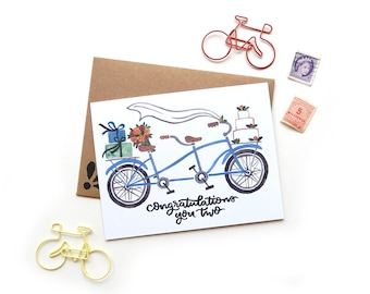 Wedding Tandem Bicycle Card | Wedding Congratulations Original Calligraphy Brush Lettering Blue Double Bike Watercolor A2 Card