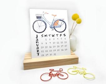 2018 Desk Calendar with Wooden Stand | Watercolor + Calligraphy Handmade Desk Calendar Bike Plants Coloring Watercolor Illustrations