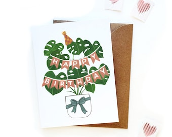 Birthday Monstera Card | Crazy Plant Lady Birthday Card | Modern Birthday Card | Plant Lady Card | Gift Wrapped Plants