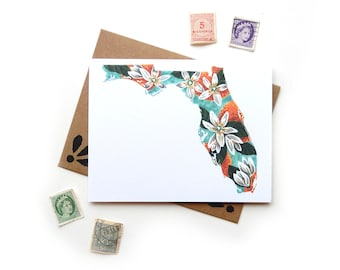 Florida Orange Blossom Watercolor Card | Watercolor State Flower Illustration A2