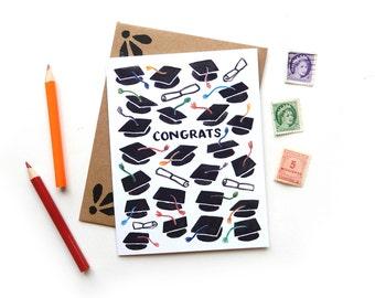Congrats Graduate Card | Original Calligraphy Brush Lettering Grad Caps Watercolor A2 Card