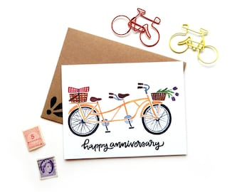 Tandem Bicycle Anniversary Card | Original Calligraphy Brush Lettering Yellow Double Bike Watercolor A2 Card