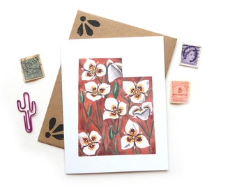 Utah Segoe Lily Watercolor Card | Watercolor State Flower Illustration A2