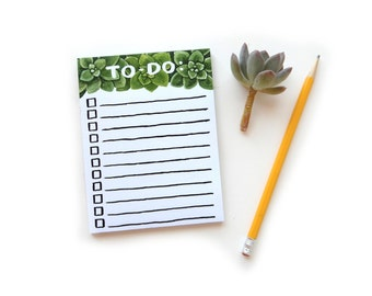 Notepad Succulent Watercolor To Do List | 50 Sheet Tearaway Notepad