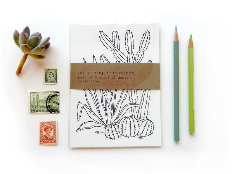 Crazy Cactus Lady Gift Saguaro Paddle Cactus Coloring Snail Mail Coloring Postcards Cactus Set Cacti Coloring Book Postcards