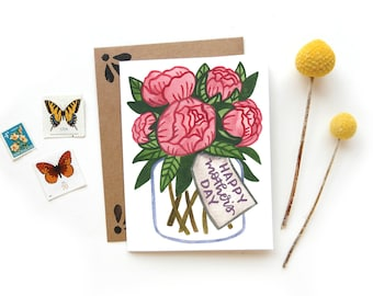 Mother's Day Peonies Card | Original Calligraphy Brush Lettering Mom Floral Watercolor A2 Card
