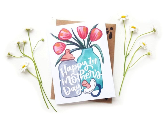 Original Calligraphy Brush Lettering A2 Card New Mom Card Mother/'s Day Bouquet Card First Mother/'s Day Card Tulips Daffodils