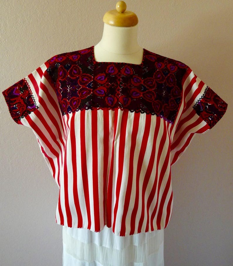 c6015603208 SALE Chiapas hand woven huipil blouse Highland Maya red