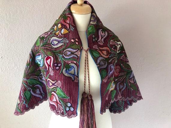 Chiapas handwoven embroidered caplet shawl Highlan