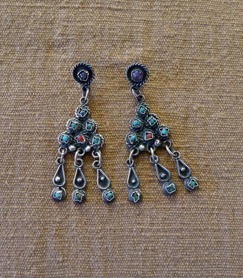 7fe302d65a77 Taxco silver chandelier post earrings Matl style Mexican