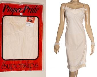 f54d6c85ca7 NWT  Proper Pride  delightful XL sheer silky soft rich cream Celon nylon  and pretty matching lace 1960 s vintage full slip petticoat - 4461