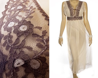 c1ad3c817d Superb 60 s vintage sheer flimsy double layer soft champagne nylon and  contrasting chocolate lace detail full length nightdress - 4484