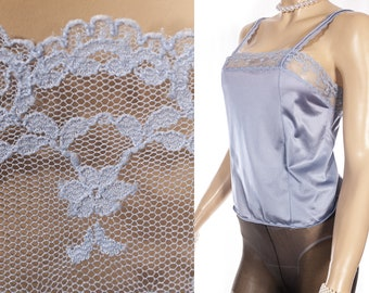 ab947397b21 Beautiful  Tom Bezduda for Barad  shimmering silky soft ice blue nylon and  delicate floral net lace detail 1970 s vintage camisole - 4534
