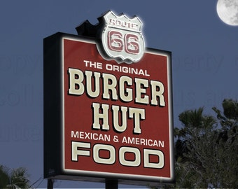 Needles California Night Scene Bringing Life Back to Famous Burger Hut Sign Route 66 Enhanced Photograph