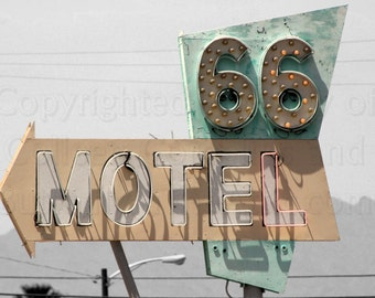 Old Motel 66 Sign from California's Route 66 Enhanced Photograph  on Black & White Background