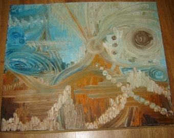 Vintage Old European  oil painting on canvas Modernism Expressionism Symbolism