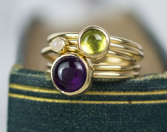 Solid gold stacking ring set | amethyst stacking ring | peridot ring | stacker rings | gold rings | gold ring | stackable Mothers ring set