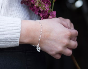ba96fcabd7aa07 Silver Rustic Heart Bracelet | Heart Bracelet | Rustic Heart Jewellery |  Handmade Heart Bracelet | Mothers Day Gift | Alison Moore Designs