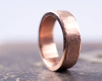 9f232600b4424b Rose Gold Organic Textured 6mm Wide Band