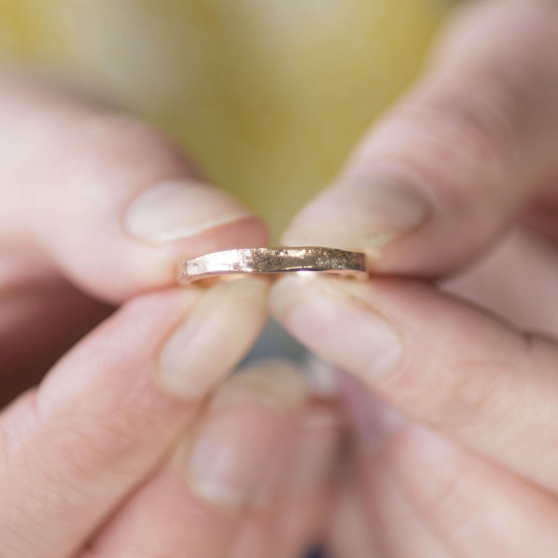 Rose Gold Ring Rose Gold Wedding Band Rose Gold Textured | Etsy