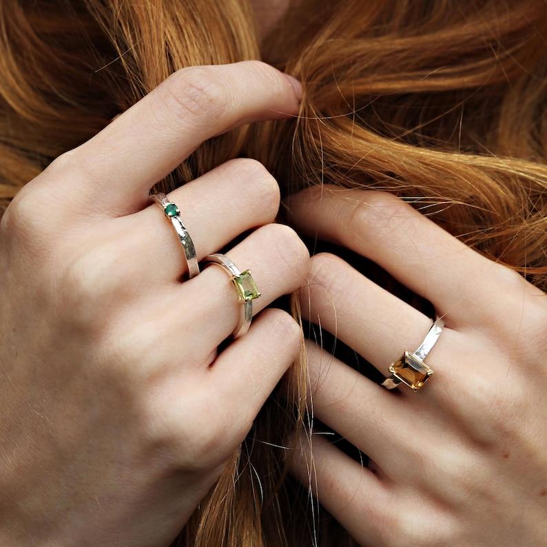 Emerald Cut Citrine Textured Ring