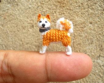 Miniature Akita  - Tiny Crochet Mini Amigurumi Dog Stuff Animal - Made To Order