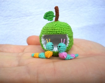 Miniature Worms and Apple,  Micro Crochet Valentine Worm Couple - Made To Order