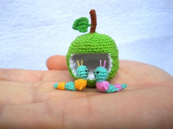 Miniatur Würmer Und Apfel Mikro Häkeln Valentine Wurm Paar Etsy