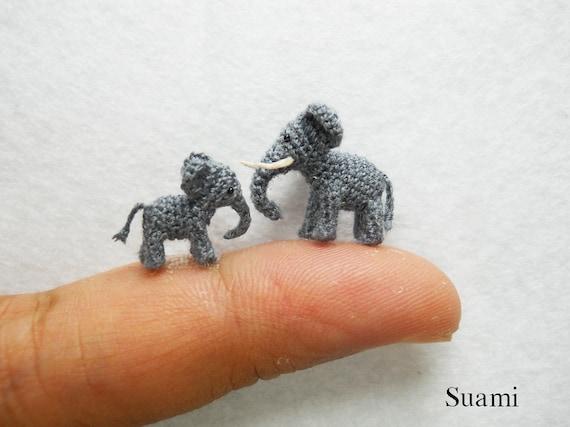 Extrem Kleine Elefanten Mikro Mini Amigurumi Häkeln Miniatur Tiere Set Von Zwei Elefanten Vater Und Sohn Bestelloptionen