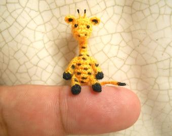 Tiny Walking Giraffe - Micro Dollhouse Miniature Crochet Animals - Mini Amigurumi Giraffe Plush Toy - Made to Order