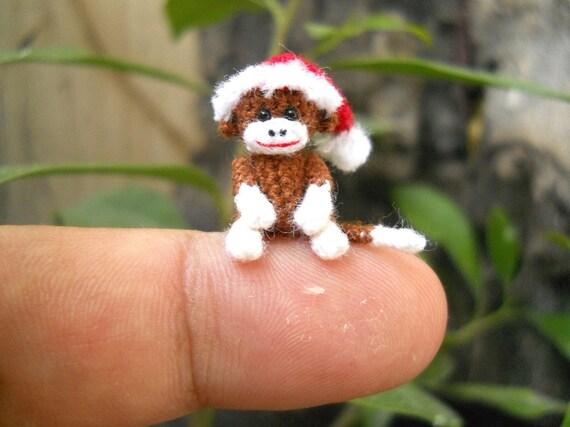 Weihnachtssocke Affe Puppe Mini Amigurumi kleinen häkeln | Etsy