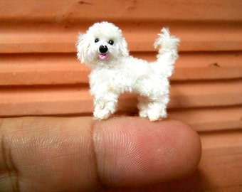 White Labradoodle - Tiny Crochet Miniature Dog Stuffed Animals - Made To Order