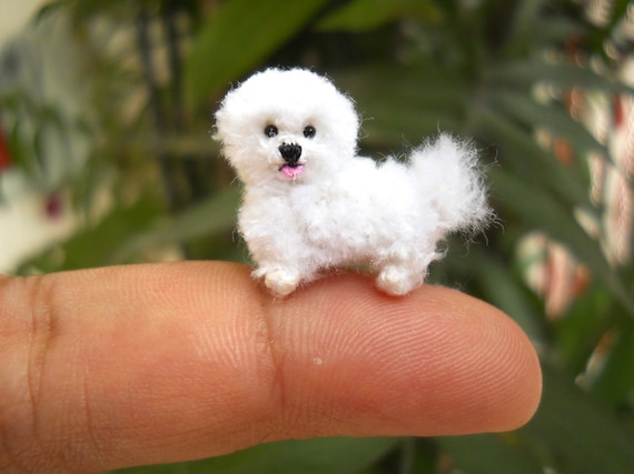 bichon frise tiny crochet miniature dog stuffed animals etsy
