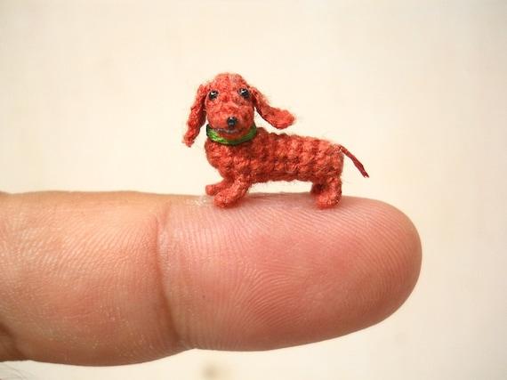Miniatur Dackel Dackel Winzig Kleine Puppenhaus Häkeln Pet Etsy