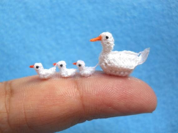 Entenfamilie weiß Micro gehäkelt Enten Bestelloptionen | Etsy