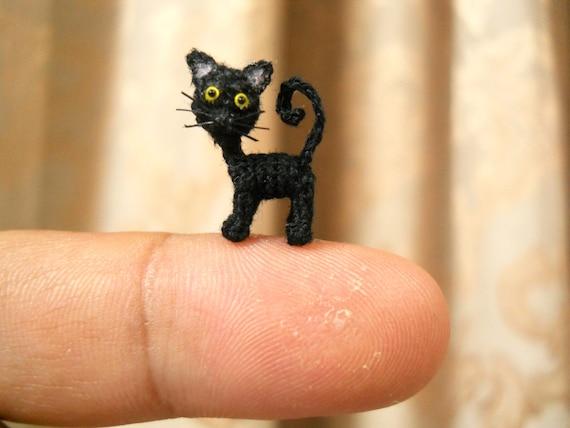 Schwarze Katze Mikro Mini Amigurumi Kunst Dekor Häkeln Katze Etsy