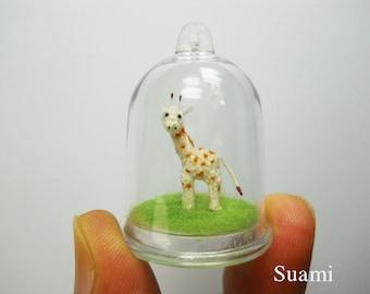 Miniature Giraffe In Tiny Dome - Micro Mini Amigurumi Crochet Animals - Made To Order