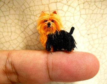 Mini Yorkshire Terrier - Tiny Crochet Miniature Dog Stuffed Animals - Made To Order