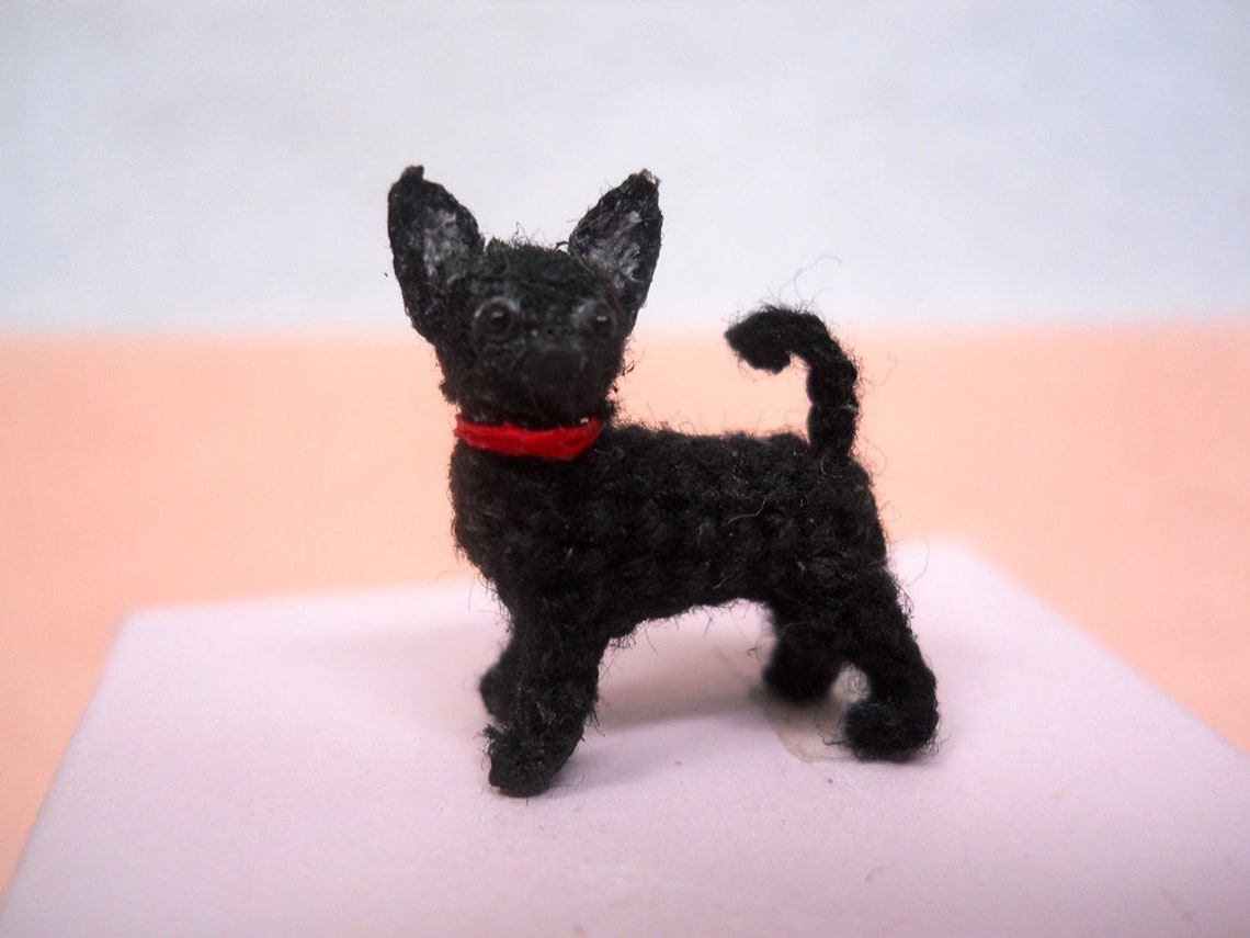 Black Chihuahua Dog Tiny Amigurumi Micro Crochet Miniature Etsy