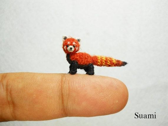 Miniatur Red Panda Scheint Katze Mikro Mini Amigurumi Häkeln Etsy