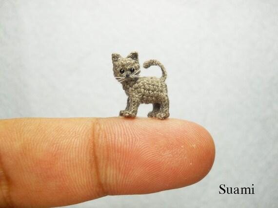 Mikro Miniatur Graue Katze Kitten Mini Kleine Häkeln Katze Etsy