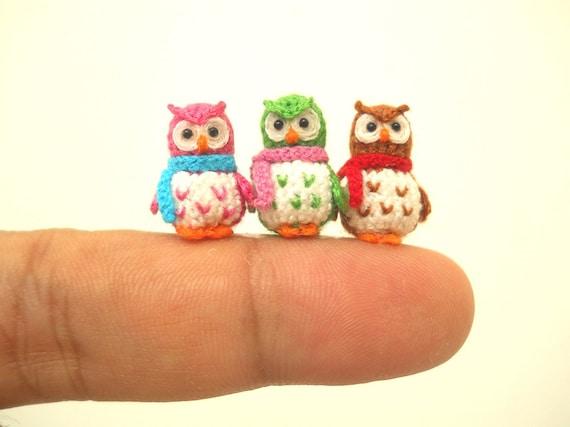 Drei Mikro Mini Eulen Kleine Amigurumi Häkeln Miniatur Eule Etsy