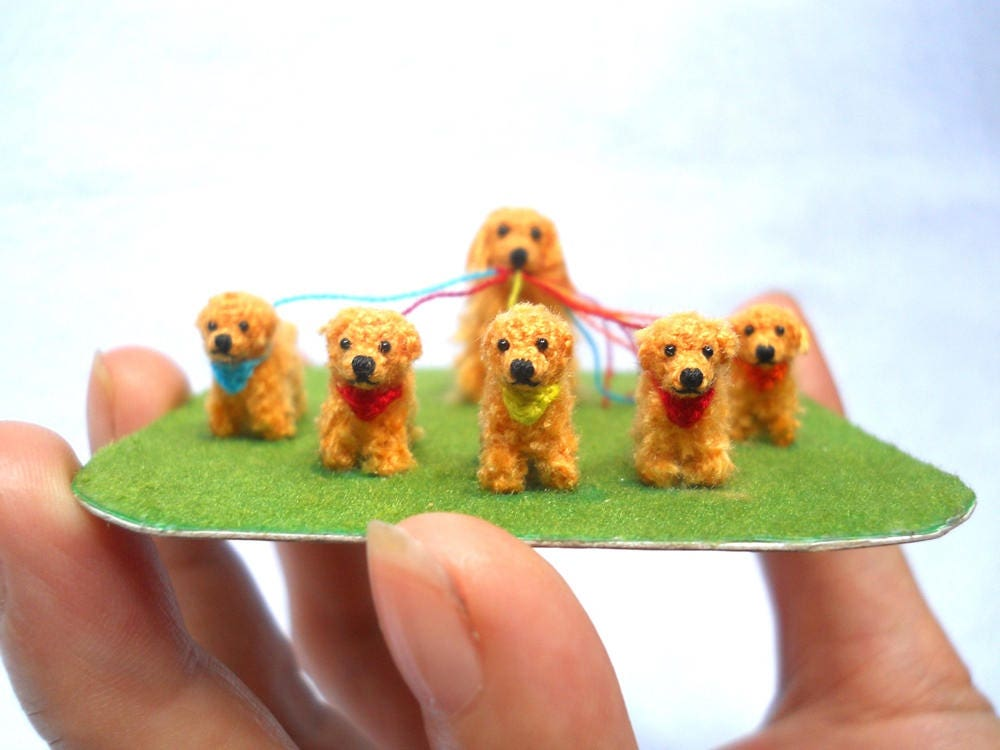 Miniature Golden Retrievers - Crochet Dog Family, Mom and Baby Dogs - Made To Order