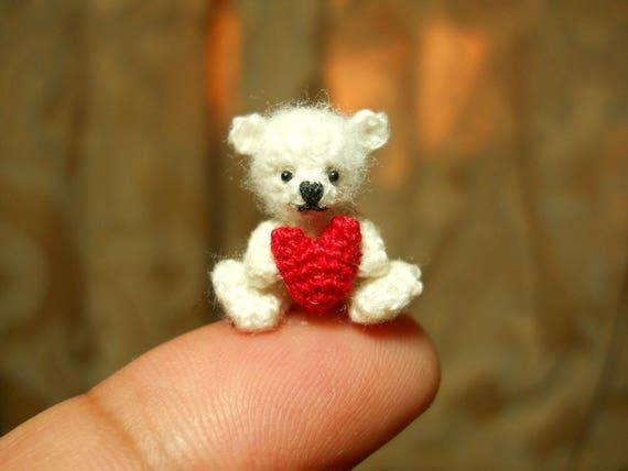 Mini Weißer Bär Hält Herz Mikro Häkeln Miniatur Bär Auf Etsy
