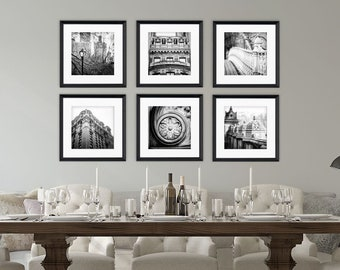 Black and White New York City Wall Art. NYC Photography Wall Gallery Set of 6 Prints or Canvas Art. Square Prints for IKEA RIBBA.