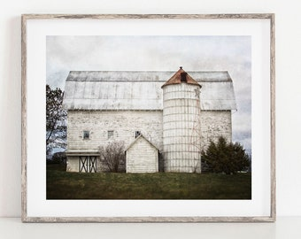 Rustic Farmhouse Wall Art Decor. White Barn Country Landscape Photography Art Print or Canvas Wrap. Gift for Her.