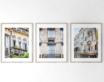 Set of 3: Italy Wall Art, Venice Italy Prints, Italian Architecture Prints or Canvas Art. Pastel Travel Photography, Pink White, Blue Green.